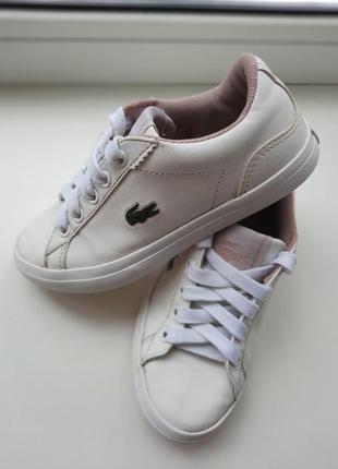 Детские кроссовки белые lacoste кеды кросiвки
