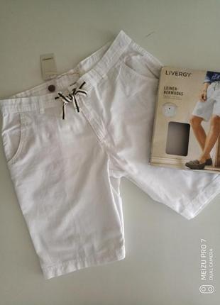 Белие льняние шорти от немецкого бренда livergy 48,52