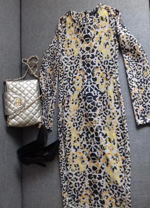 Платье по фигуре zara леопардовый принт