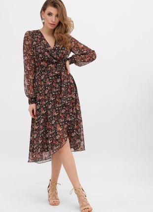 Платье алеста д/р цветастое платье на запах