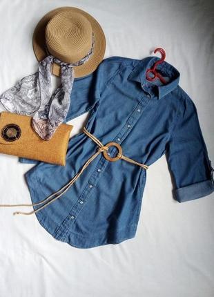 Джинсовая удлиненная рубашка туника f&f