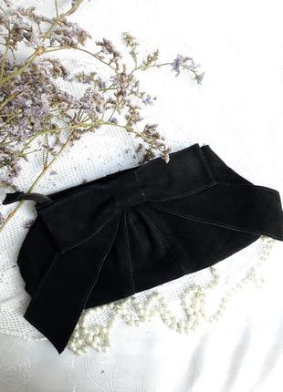 Клатч сумка с бантом натуральная кожа замш на змейке черный