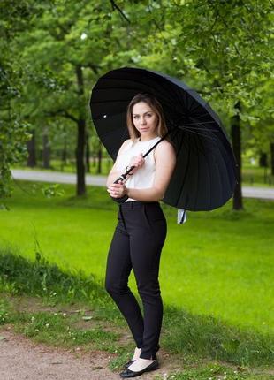 Велика міцна парасоля 24 спиці антивітер / зонт зонтик женский