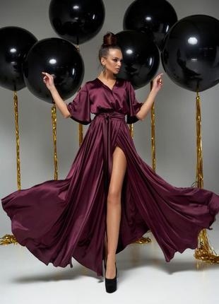 Атласное шелковое платье на запах винный
