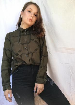 Клетчатая рубашка хаки h&m
