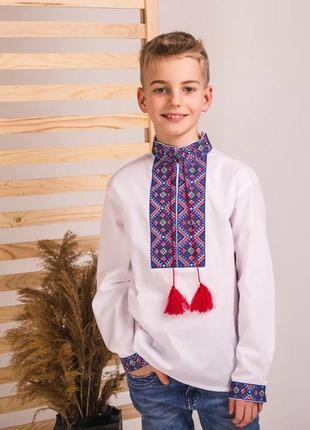 Рубашка подростковая с богатой вышивкой крестиком 140-170