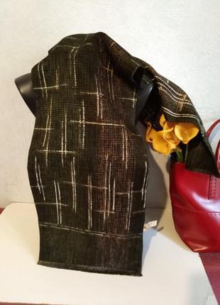Франция, шерсть и шелк, двухслойный двухсторонний шарфик, кашне, 120*28