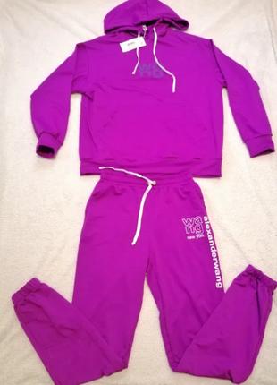 Спортивный прогулочный костюм, фиолетовый, alex wang, прогулочный оверсайз, р. s-m