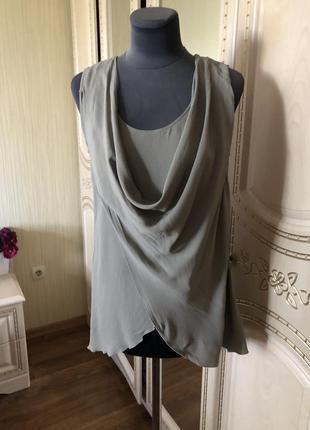 Шелковый воздушный топ блуза, натуральный шелк, цвет тауп, patrizia pepe