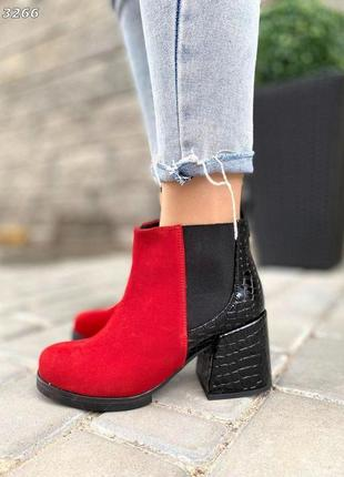 ❤ женские красные замшевые осенние демисезонные ботинки ботильоны на флисе ❤