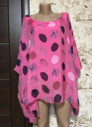 Изумительная шёлковая блуза,туника в принт,италия!!