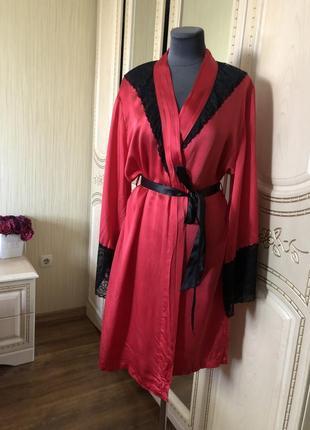 Невероятно роскошный шелковый халат, натуральный шелк шёлк, французское кружево стразы,