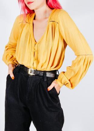 Горчичная рубашка женская, осенняя блузка, блуза, сорочка