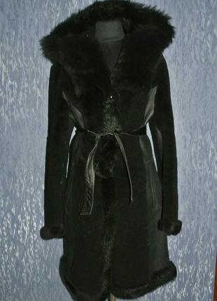 Дубленка-шуба натуральная l 44-46р с капюшоном
