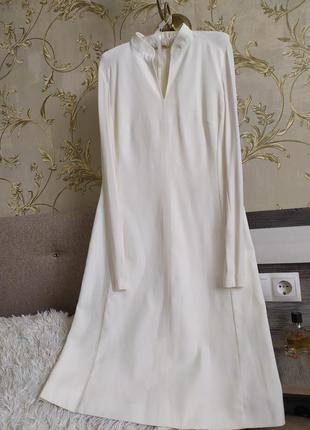 Плаття міді трапеція з прозорими вставками з в-вирізом