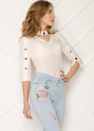 Блуза белая, молочная с чекером