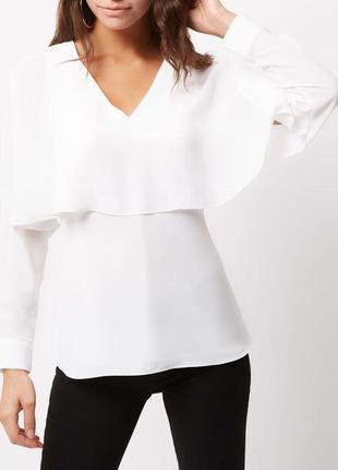 Новая блуза белая блузка из креп ткани топ с v-вырезом оборками на завязке