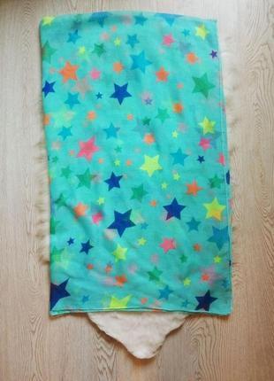 Голубое цветное бирюзовое парео широкий платок летний с принтом рисунком звездочками