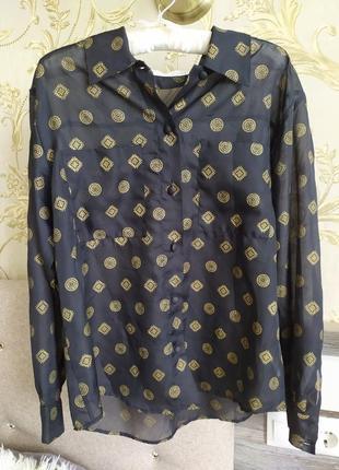 Блуза органза прозора з золотистим візерунком в стилі  zara spotlite