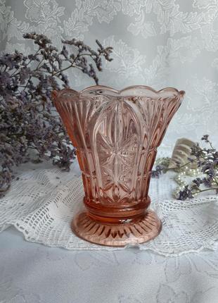 Ваза ссср художественное карамельное стекло миниатюра марганцевое литая