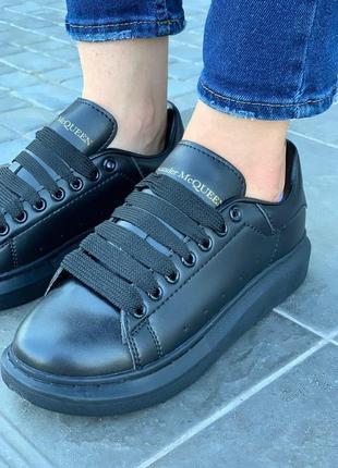 Alexander mcqueen black стильные женские кроссовки маквин черного цвета (36-40)💜