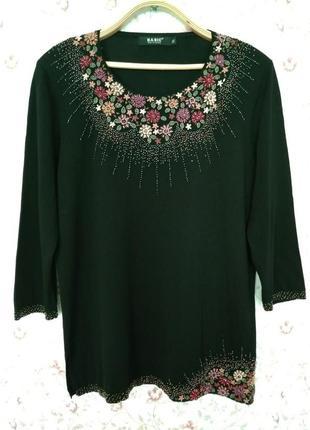 Шикарная фирменная кофта / блуза с красивой вышивкой.