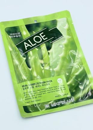 Тканевая маска с алоэ may island real essence aloe mask pack