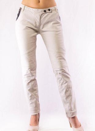 Джинсы женские белые с кожаными вставками в карманах maison scotch (w29|l32)