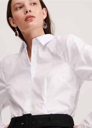 Необычная белая рубашка из хлопка с пышными рукавами reserved