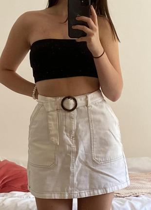 Модная джинсовая юбка/ белая юбка/ юбка из денима