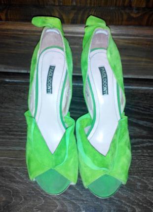 Яркие cтильные туфли paolo conte из натурального замша салатового цвета