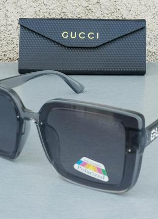 Gucci очки женские солнцезащитные серые с градиентом поляризированые