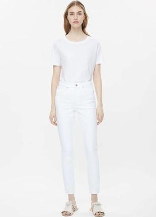 Белые плотные джинсы на высокой посадке cos slim fit