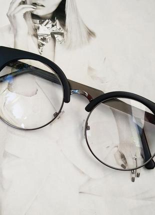 Круглые имиджевые очки в стиле клабмастер чёрный