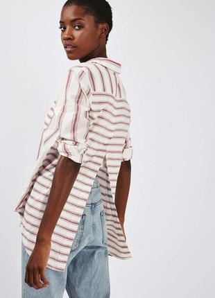 Полосатая хлопковая ассиметричная рубашка topshop