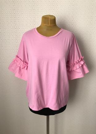 Нереальная розовая футболка от h&m, размер укр прим 48-50-52