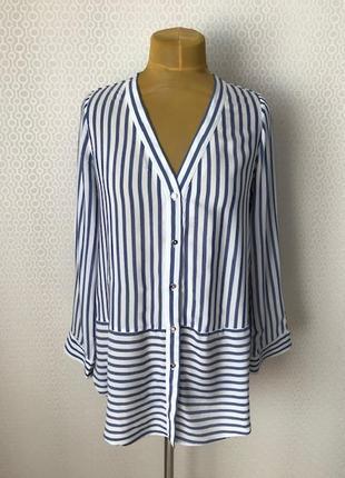 Трендовая рубашка блуза в сине-белую полоску от h&m, размер укр прим 46-48-50