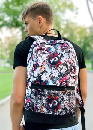 Рюкзак белый с принтом tiktok портфель тикток сумка ранец для школы женский / мужской