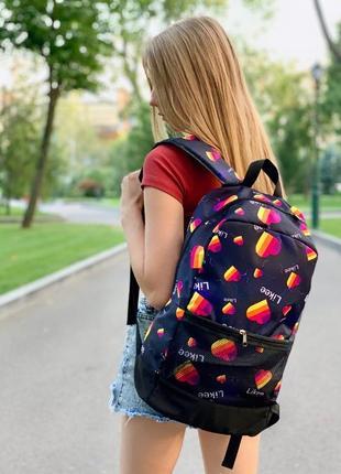 Рюкзак темно-синий с принтом likee портфель лайки сумка ранец для школы женский / мужской