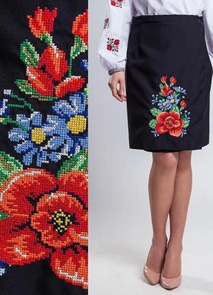 Украинская юбка плахта черная с вышивкой длина 55 и 65 см