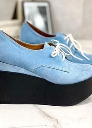 Натуральные кожанные замшевые туфли