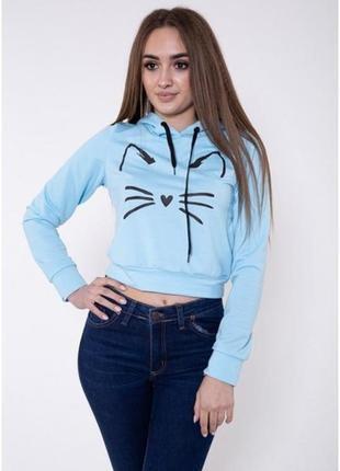 Распродажа!!! укороченный свитшот котик