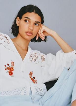Рубашка с вышивкой zara 2020