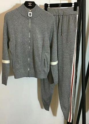 Серый костюм трикотаж люрекс