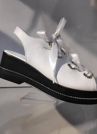 Эксклюзивные кожаные босоножки на шнуровке, украина 🇺🇦🥇