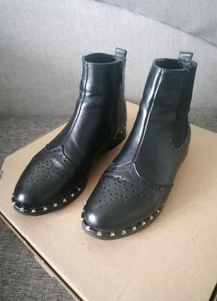 Zara кожаные ботинки, ботинки челси, туфли, ботильены