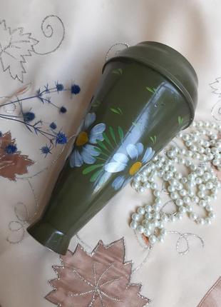Ваза ссср холодная эмаль металл алюминий ручная роспись полевые ромашки