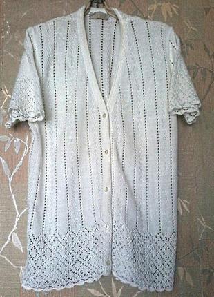 Нежная блуза рубашка кофточка молочного цвета на размер 50-52
