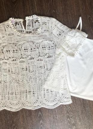Блуза выбитая с майкой 2в1 ажурная блузка