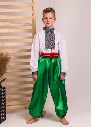 Шаровары украинские зеленые длина от 35 до 100см